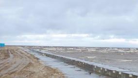 Ondas litorais do mar que rolam no Sandy Beach vazio, skyview nebuloso tormentoso do nascer do sol vídeo O mar acena no Sandy Bea video estoque