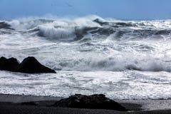 Ondas na praia preta de Reynisfjara em Islândia Fotos de Stock Royalty Free