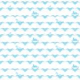 Ondas, naves, tiburones y monstruos Extracto Libre Illustration