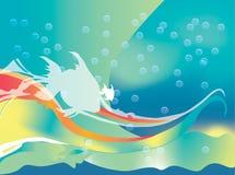 Ondas, peixes e bolhas ilustração stock