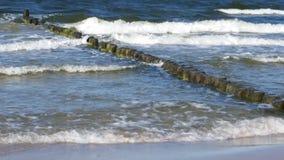 Ondas pequenas do mar com quebra-mar e Sandy Beach de madeira fotos de stock