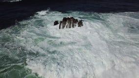 Ondas poderosas que deixam de funcionar em rochas em Califórnia vídeos de arquivo