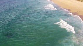 Ondas que causan un crash en la playa almacen de metraje de vídeo