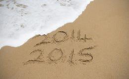 Ondas que lavam afastado o ano 2014 Foto de Stock Royalty Free