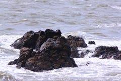 Ondas que quebram nas rochas Fotografia de Stock