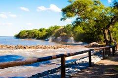 Ondas que se estrellan en la orilla, costa de la reserva ecológica de Puerto Madero imagen de archivo libre de regalías