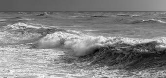 Ondas que se estrellan grandes en un mar blanco y negro foto de archivo libre de regalías