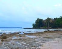 Ondas quietas do mar, Rocky Beach, árvores altas e céu claro - Sitapur, Neil Island, Andaman Nicobar, Índia imagem de stock royalty free