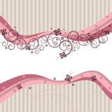 Ondas, redemoinhos e borboletas da cor-de-rosa Fotos de Stock Royalty Free