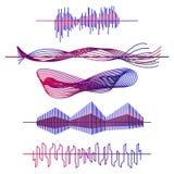 Ondas sadias ajustadas Ondas audio do equalizador, ilustração do vetor do pulso ilustração stock