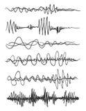 Ondas sadias do vetor ajustadas Jogador audio A tecnologia audio do equalizador, pulsa musical Ilustração do vetor ilustração do vetor