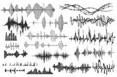 Ondas sadias do vetor ajustadas Jogador audio A tecnologia audio do equalizador, pulsa musical Ilustração do vetor ilustração stock