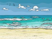 Ondas salpicadas en la playa arenosa Relajación tropical stock de ilustración