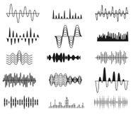 Ondas sanas de la amplitud Símbolos de la señal de radio Equalizador audio de la música, sistema del vector de onda de la voz ais ilustración del vector