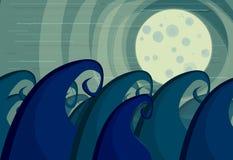 Ondas sob a lua ilustração stock