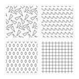 Ondas, triângulos e texturas sem emenda dos quadrados Fotografia de Stock