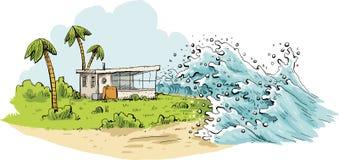 Ondas tropicais do tsunami Imagens de Stock