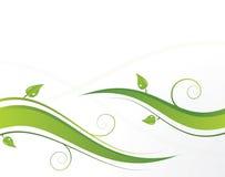 Ondas verdes com folhas Fotos de Stock Royalty Free