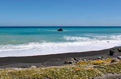 Ondas y lavado de la espuma para arriba encendido a la playa abandonada en el cabo Palliser, isla del norte, Nueva Zelanda imagen de archivo