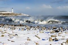 Ondas y nieve Fotografía de archivo