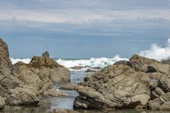 Onde a bassa marea, riserva di Turakirae, costa di Wainuiomata Fotografia Stock
