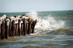 Onde che colpiscono il pilastro a Sullivan Beach Island a Charleston, Carolina del Sud Immagine Stock