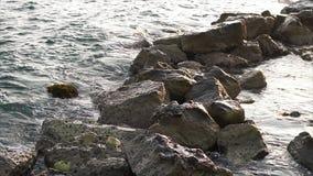 Onde che si rompono contro le rocce sul litorale del mare stock footage
