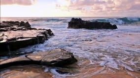 Onde che si rompono sulle rocce vicino alla spiaggia sabbiosa, Oahu, Hawai archivi video