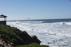 Onde costiere di alta marea che colpiscono la riva di La Jolla California Fotografie Stock