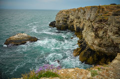 Onde dal mare della Bulgaria della spiaggia delle scogliere di Tyulenovo Fotografia Stock