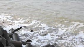 Onde del mare e barriera di tsunami dei tetrapodi video d archivio