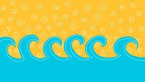 Onde del mare e cartolina d'auguri della sabbia royalty illustrazione gratis