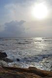 Onde dell'Oceano Indiano della costa della roccia grandi La Sri Lanka Fotografie Stock
