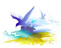 Onde di oceano ed uccelli di volo gabbiani Fotografia Stock Libera da Diritti