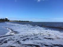 Onde di oceano Pacifico con sporcizia dal fiume di Waimea alla spiaggia di Waimea sull'isola di Kauai in Hawai fotografia stock libera da diritti