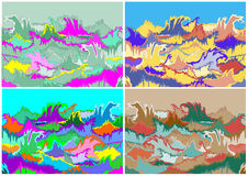 Onde di oceano tossiche di colori di allucinazione messe Immagine Stock Libera da Diritti