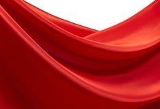Onde di raso rosso Fotografia Stock