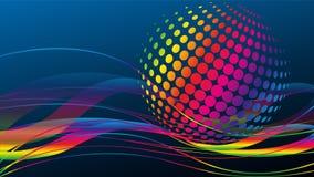 Onde e cerchi, musica e suono, fondo di tecnologia illustrazione di stock