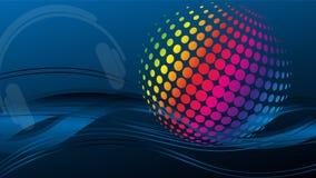 Onde e cerchi, musica e suono, fondo di tecnologia illustrazione vettoriale