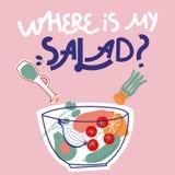 Onde está minha salada Rotula??o tirada m?o do vetor ilustração lisa com bacia e vegetais de salada Conceito saud?vel comer ilustração royalty free
