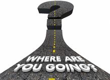 Onde está você pergunta indo Mark Road Destination Direction 3d Fotografia de Stock Royalty Free