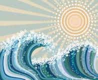 Onde et soleil illustration de vecteur