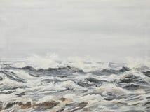 Onde grige del mare, pittura a olio Immagini Stock
