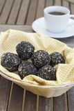 Onde-onde. Or sesame seed balls. Indonesian snack served with coffee Royalty Free Stock Photo