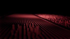 Onde sonore astratte su fondo nero Linee rette volumetriche che lasciano nello spazio e nella vibrazione ondulata video d archivio
