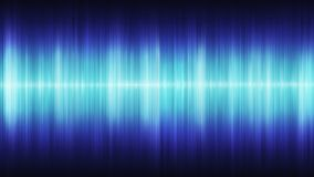 Onde sonore cosmiche blu d'ardore su un fondo nero royalty illustrazione gratis