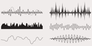 Onde sonore de musique audio, ensemble de vecteur Images libres de droits