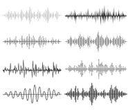 Onde sonore di musica nera Audio tecnologia Fotografia Stock Libera da Diritti