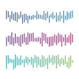 Onde sonore di musica nera Audio tecnologia, impulso musicale illustrazione vettoriale
