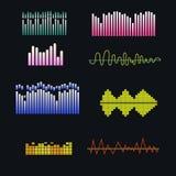 Onde sonore di vettore messe Elementi variopinti di musica per la vostra progettazione Fotografie Stock Libere da Diritti